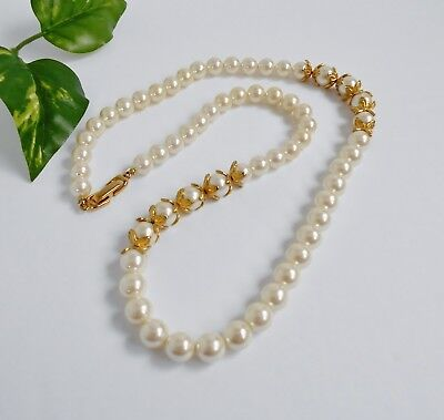 Vintage Pearl Bead Necklace Gold Metal Accents (Faux) White Fold Lock Clasp 24""