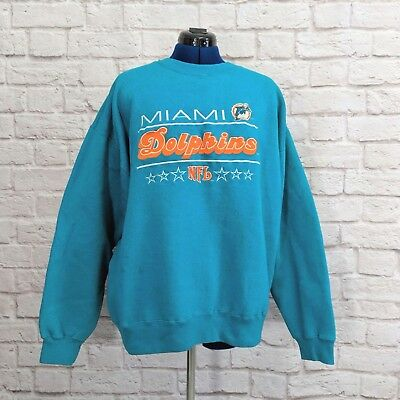 Vintage Miami Dolphins Sweatshirt NFL Embroidery Graphic 90s Mens Size XL