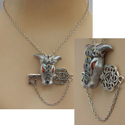 Dragon Key Pendant Necklace Jewelry Handmade NEW Hand Sculpted NEW Clay Silver