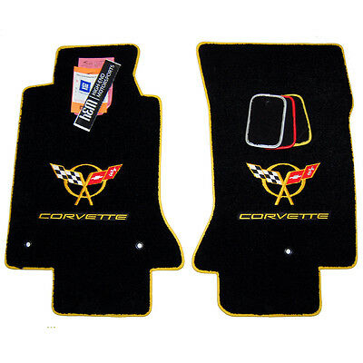 2000-2004 Chevrolet Corvette C5 Floor Mats - Yellow Binding -  32oz 2ply QUALITY