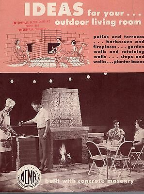 1954 Ncma  Concrete Masonry Booklet-Instruction For Building Fireplace-Barbecue