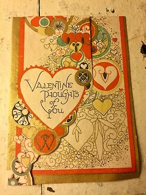 Antique Vintage Art Deco 1920s Gold Red Hearts Valentine Card