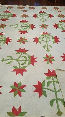 Fabulous Antique Applique Quilt Turkey Red and Green OOAK