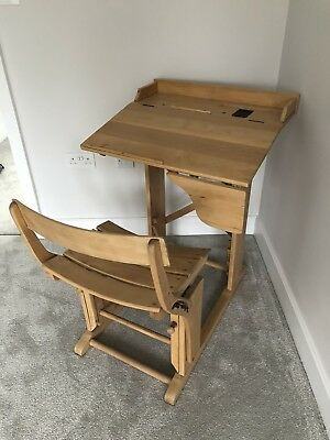 Antique Style School Desk / desk & chair