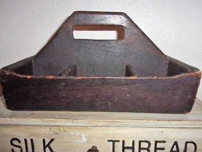 AAFA Early Antique Primitive Tote Tray Carrier FOLK ART Old Dry Worn Black Paint