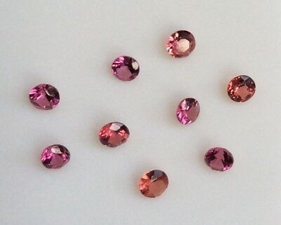 5 Pc Round Cut Shape Natural Light Pink/red Garnet 2.5Mm Loose Gemstones
