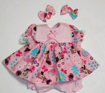 "Cabbage Patch Doll Clothes: Fit 16""doll:minnie Mouse/lght  Pink Dress Set- 4Pc"