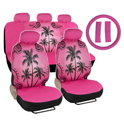 New Palm Tree Hot Pink Car Seat Covers Steering Wheel Cover Shoulder Pads Set
