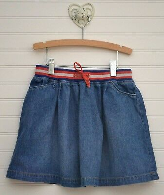 Girls MINI BODEN Sz 9 10y Denim Jean Skirt w/ Pockets Stripe Waist Band