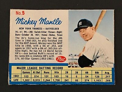 1962 Post Cereal Baseball #5 Mickey Mantle