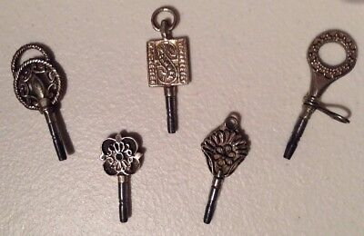 Vintage Lot Of (5) SOLID SILVER 0.800 Engraved Keys For Antique Watches