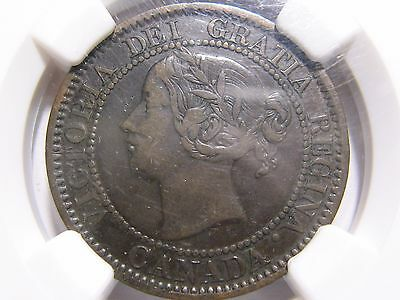 1858 One Cent Canada NGC VF-35 BN Very Fine 1c Rotated Reverse