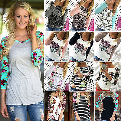Womens Long Sleeve Floral Print Shirt Casual Blouse Tops Loose T Shirt Pullover