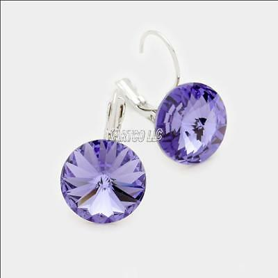 d6932f1b78135 RHODIUM PLATED TANZANITE Crystal Bezel Set Stud Earrings - Made with ...