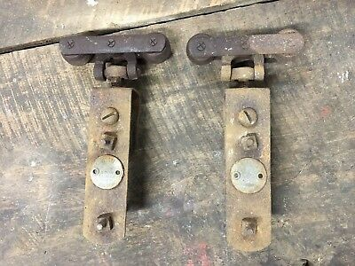 2 Vintage Cannonball Barn Garage Door Hangers Rollers Antique Rustic