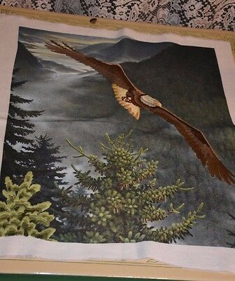 """SOARING EAGLE IN WESTERN FOREST CREWEL PICTURE 20"""" x 16"""""""