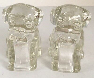 2 Vintage Glass Puppy Dogs Sitting Figurine Federal Hollow