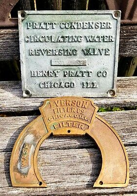 Henry Pratt Company Chicago Ill Brass Industrial Valve Plaque