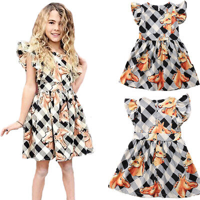 Kids Baby Girls Horse Animal Printed Ruffle Sleeveless Lovely Party Plaid Dress
