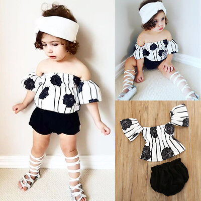 USA Newborn Baby Girls Off Shoulder Rose Flower Tops Short Pants Outfit Clothes