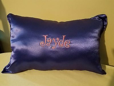 New Hand Made Butter Soft Royal Purple Satin Pillow Custom Name of choice Free