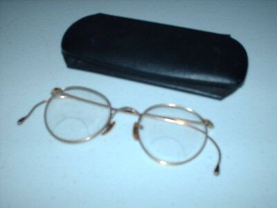 "A Pair OF Antique Gold Rimmed Framed Eyeglasses-Bifocal  4"" WIDTH -WITH CASE"