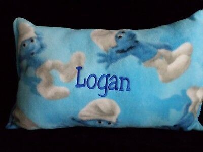 New Hand Made Pillow Soft Smurfs Boys or Girls Custom Name Included FREE Ship