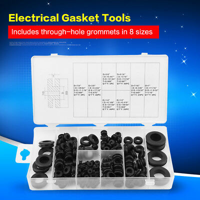 180 Pcs Rubber Grommet Wire Ring Electrical Gasket Tools Washer Seal Assortment