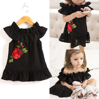 Newborn Toddler Baby Girls Flower Rose Summer Sundress Party Dress Kid Clothes