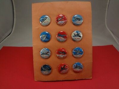 Kellogg's Shredded Wheat Jet Buttons - Pin Back Prize Pin - Complete Set Of 12