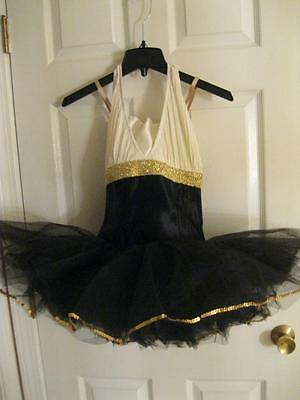 Curtain Call Adult Dance Jazz Ballet Costume Black Ivory Halter Gold Sequins 10