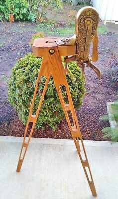 Vintage Solid Brass Bacchus Wine Bottle Opener With Beautiful Wood Tripod Stand