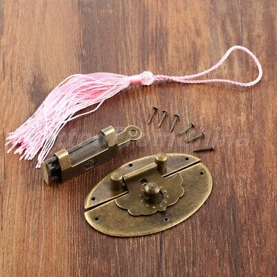 Antique Bronze Padlock & Latch Hasps Clasp Latches Engraved Character Decorative