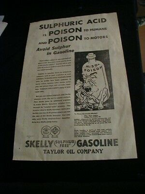 large 1931 skelly gasoline newspaper ad taylor oil company  paper clipping RARE