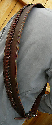 Western BANDOLIER BANDOLERO Strap Belt.177 22 22LR Caliber Ammo. Brown Leather