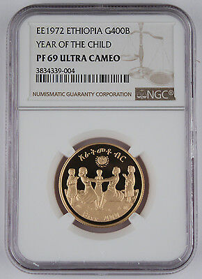 ETHIOPIA EE 1972 0.4968 Oz AGW Gold Proof Coin Year of Child NGC PF69 Ultra CAM