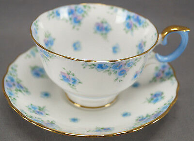 Crown Staffordshire F14895 Pattern Blue Floral Tea Cup & Saucer Circa 1930s