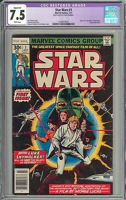 Star Wars #1 CGC 7.5 VF- 1st Print 1977 WHITE Pages New Case