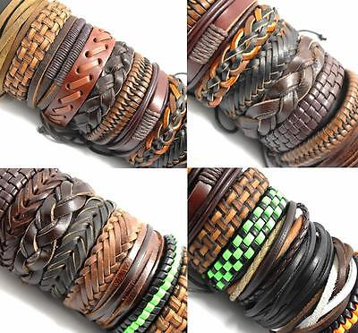 20x Mix lot Genuine Leather Bracelets Men's Wristbands Manmade Wholesale Jewerly