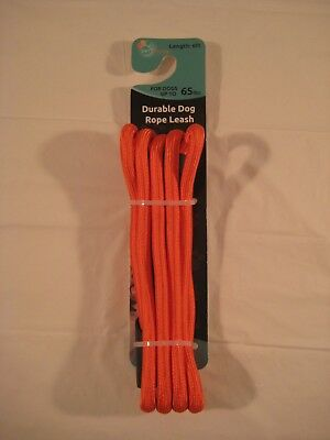 New 6' Long Durable Dog Rope Leash For dogs up to 65 lbs Color Orange Puppy Pet