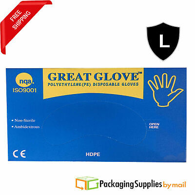 30000 Polyethylene Clear Food Service Disposable Gloves Industrial Grade Large