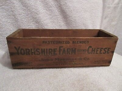 vintage 5 lbs wood cheese box Yorkshire Farm Cheese Box John Morrell & Co  lot E