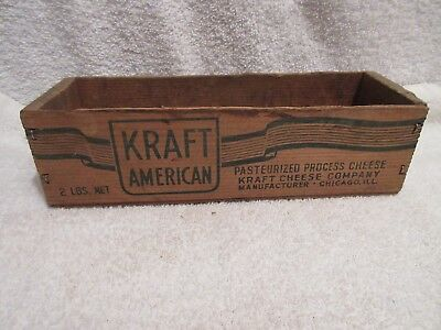 vintage 2 lbs wood cheese box Kraft American Cheese box lot E