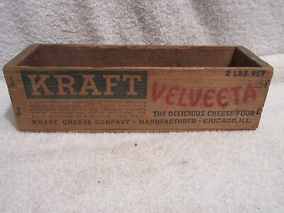 vintage 2lbs wood cheese box Kraft Velveeta Cheese box lot E