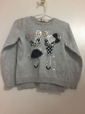 H & M Toddler Girl Gray Pull Over Mice Sweater 2-4Years