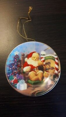 NIB Avon Fine Collectible A Visit With Santa Ornament Miniature Plate Dated 2001