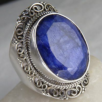FILIGREE LACE Size US 9.25 SILVERSARI Ring Solid 925 Silver + INDIAN SAPPHIRE