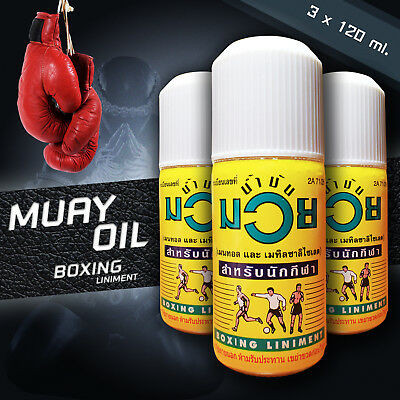3x 120ml Boxing Liniment Thai Öl - Muay Thai Oil - Massage Öl - Namman Muay
