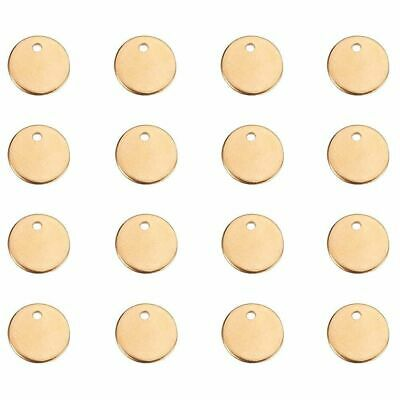 20pcs 304 Stainless Steel Round Tag Pendants Smooth Stamping Blanks Gold 8x1mm