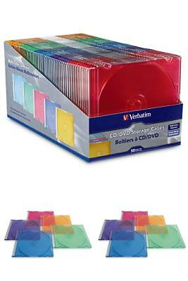Slim Jewel CD DVD Storage Cases Verbatim 50 Pcs Standard Plastic Assorted Colors